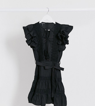 Parisian Tall frill sleeve lace trim mini dress in black