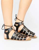 London Rebel Stud Leather Ghillie Sandal