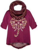 Arizona Elbow-Sleeve Top with Crochet Scarf - Girls 7-16 and Plus
