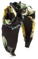 Jennifer Behr Rosette Floral-Print Silk Headband