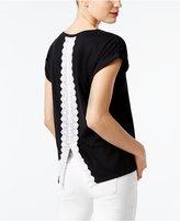 INC International Concepts Lace-Trim Split-Back T-Shirt, Created for Macy's