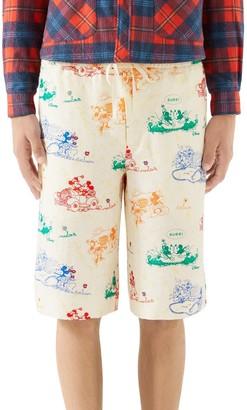 Gucci x Disney Print Linen Shorts