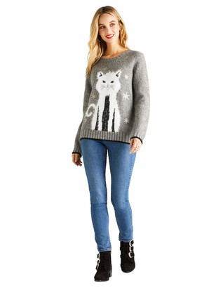 Yumi Sequin Embellished Cat Chritmas Jumper Grey