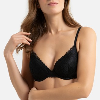 La Redoute Collections Recycled Lace Underwired Padded Bra with Detachable Straps