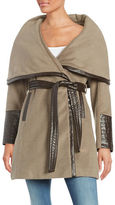 Via Spiga Faux Leather-Trimmed Wool-Blend Coar