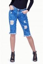 Select Fashion Fashion Womens Blue Khloe Ripped Crop Jean - size 6