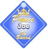 mybabyonboard UK Crown Prince Joe On Board Personalised Baby / Child Boys Car Sign
