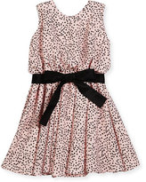 Helena Sleeveless Polka-Dot Swing Dress, Pink/Black, Size 7-14