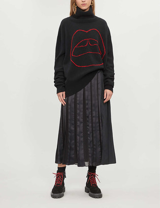 Markus Lupfer Erin Lara Lip-embroidered wool turtleneck jumper