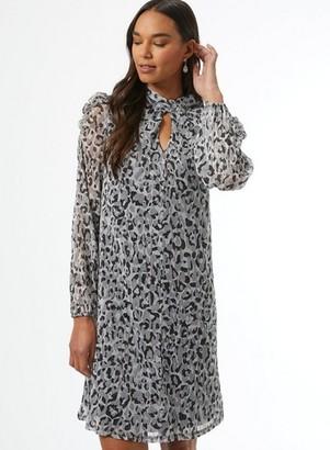 Dorothy Perkins Womens **Billie & Blossom Black Leopard Print Twist Dress
