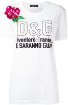 Dolce & Gabbana flower applique logo T-shirt