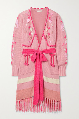 LoveShackFancy Camden Fringed Embroidered Knitted Cardigan - Blush