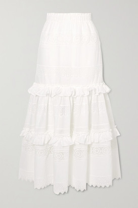 Waimari Venus Ruffled Guipure Lace-trimmed Voile Maxi Skirt - White