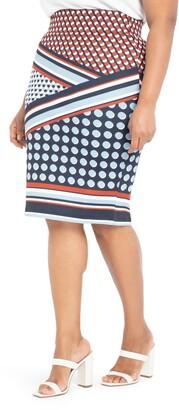 ELOQUII Patchwork Print Neoprene Pencil Skirt