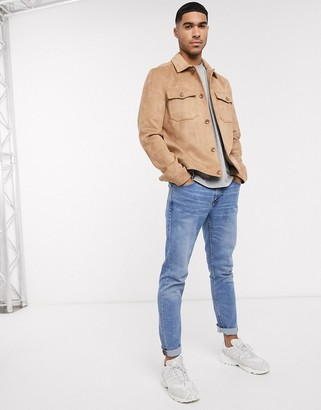 ASOS DESIGN faux suede harrington shacket with utility pockets in tan