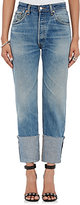 RE/DONE Women's The High Rise Straight Cuffed Jeans-BLUE