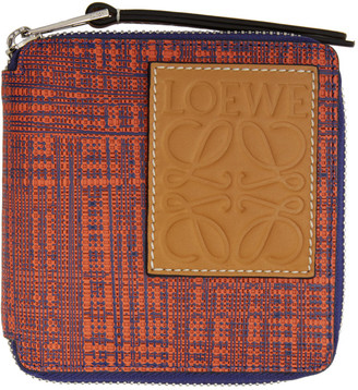 Loewe Orange and Blue Square Zip Wallet