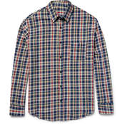 The Elder Statesman Checked Cotton-flannel Shirt - Navy