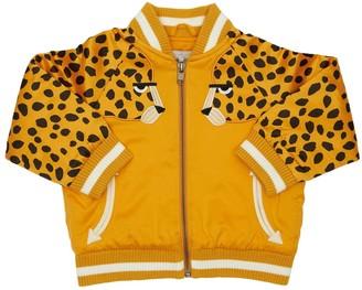 Stella McCartney Kids Satin Bomber Jacket W/ Cheetah Patch