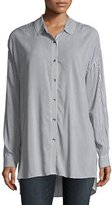 Splendid Button-Front Striped Oxford Tunic Shirt