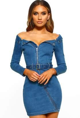 Pink Boutique A Million Dreams Mid Blue Denim Bardot Zip Front Mini Dress