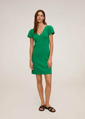 MANGO Ruched sleeve dress green - 6 - Women