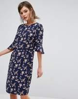 Oasis Lotus Bird Flute Sleeve Dress Longer Line