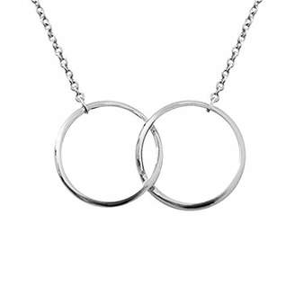 Sparkling Jewellery Women Silver Pendant Necklace of Length 48cm two-ring silver