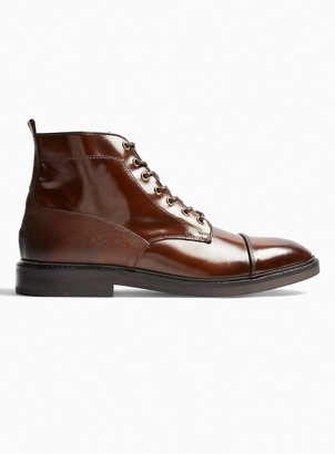 Topman Tan Real Leather Venice Boots