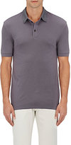 Giorgio Armani Men's Wool Piqué Polo Shirt-GREY