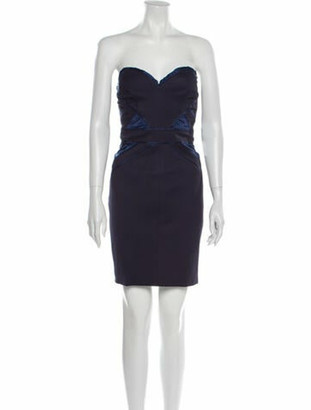 Zac Posen Strapless Mini Dress Blue