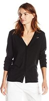Lacoste Women's Long Sleeve Cotton Double Overlay V Neck Cardigan Sweater