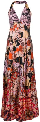 Temperley London Missy-print strappy maxi dress