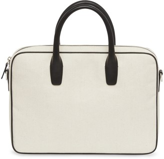 Mansur Gavriel Canvas Small Briefcase - Creme/Black