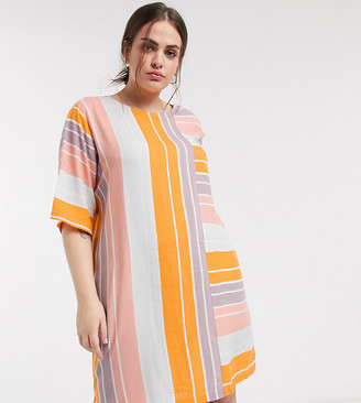 Native Youth plus relaxed mini shift dress in bright stripe