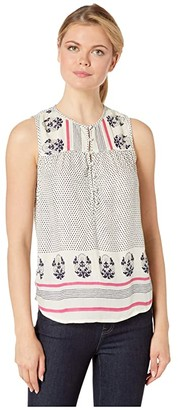 Lucky Brand Border Print Tank (Natural Multi) Women's Clothing