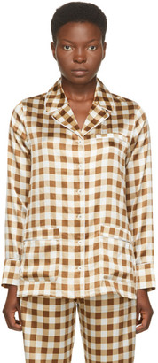 Ganni Brown Silk Check Shirt