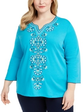 Alfred Dunner Plus Size Easy Street Embroidered Top