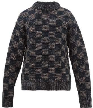 Marni Checked Wool Sweater - Mens - Navy White