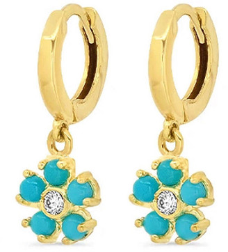 Jennifer Meyer Mini Turquoise and Diamond Flower Huggie Hoop Earrings - Yellow Gold