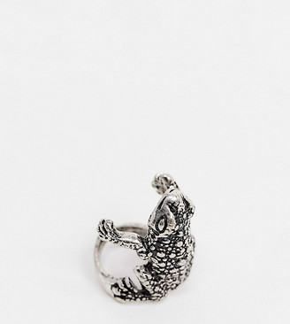 Reclaimed Vintage inspired frog ring in burnished silver