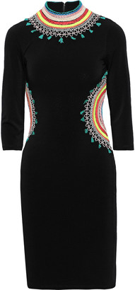 Alice + Olivia Tamson Cutout Embroidered Stretch-crepe Mini Dress