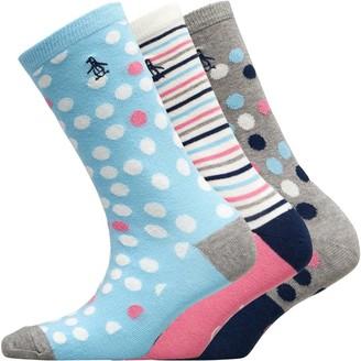 Original Penguin Womens Three Pack Socks Random Spot/Grey/White/Blue