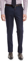 Isaia Flat-Front Flannel Trousers, Navy