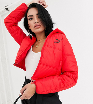 Puma Cropped Puffer Jacket Red