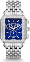 Michele Deco Diamond XL Bracelet Watch with Diamonds in Blue/Silver