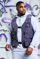 BoohooMAN Big & Tall Quavo Nylon Military Buckle Vest