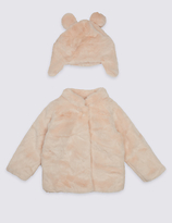 Marks and Spencer Faux Fur Coat with Hat (3 Months - 5 Years)