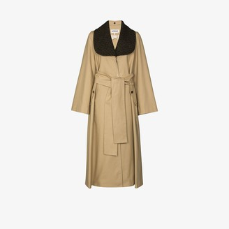 Loewe Detachable-Collar Long Trench Coat
