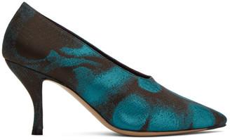 Dries Van Noten Blue and Black Jacquard Heels